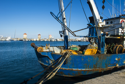 Fishing Boat in the Habour of the City of Rhodes, Rhodes, Dodecanese Islands, Greek Islands, Greece Photographic Print by Michael Runkel
