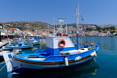 Boats Moored in Pythagorio Port, Samos Island, North Aegean Islands, Greek Islands, Greece, Europe Photographic Print by Carlo Morucchio