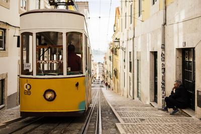 Tram in Elevador Da Bica, Lisbon, Portugal Photographic Print by Ben Pipe