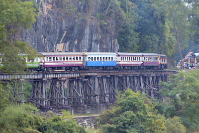 River Kwai Train Crossing the Wampoo Viaduct on the Death Railway Above the River Kwai Valley Photographic Print by Alex Robinson