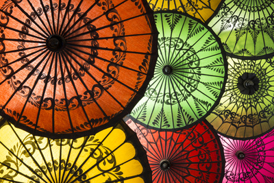 Colourful Painted Umbrellas, Parasols Made from Paper and Bamboo, Nyaung-U Photographic Print by Stephen Studd