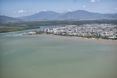 Aerial Photograph of the City and the Mouth of Trinity Inlet Photographic Print by Louise Murray