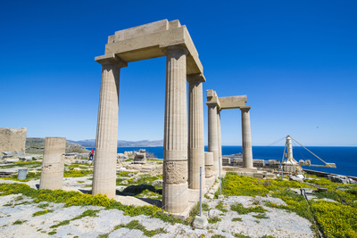 Acropolis of Lindos, Rhodes, Dodecanese Islands, Greek Islands, Greece, Europe Photographic Print by Michael Runkel