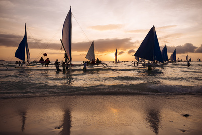 Paraw Boats, White Beach, Boracay, the Visayas, Philippines, Southeast Asia, Asia Photographic Print by Ben Pipe