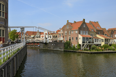 Bascule Bridge (Draw Bridge) and Houses in the Port of Enkhuizen, North Holland, Netherlands Photographic Print by Peter Richardson