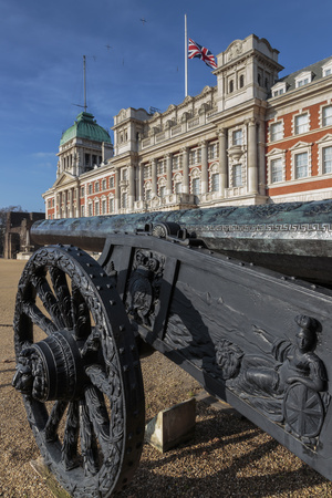 Captured Turkish Cannon, Union Flag at Half Mast on Old Admiralty Building, Horse Guards Parade Photographic Print by Eleanor Scriven