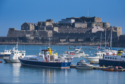 Fishing Boats Below Cornet Castle, Saint Peter Port, Guernsey, Channel Islands, United Kingdom Photographic Print by Michael Runkel