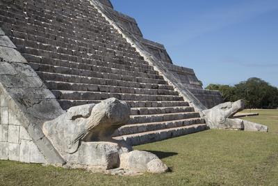 Serpent Heads, El Castillo (Pyramid of Kulkulcan), Chichen Itza, Yucatan, Mexico, North America Photographic Print by Richard Maschmeyer