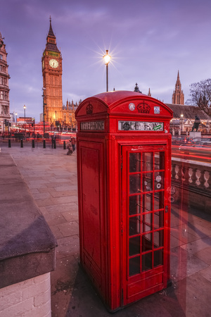 Typical English Red Telephone Box Near Big Ben, Westminster, London, England, UK Photographic Print by Roberto Moiola