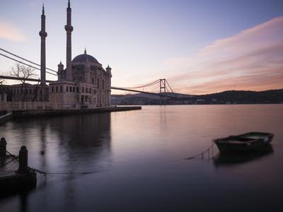Exterior of Ortakoy Mosque and Bosphorus Bridge at Dawn, Ortakoy, Istanbul, Turkey Photographic Print by Ben Pipe