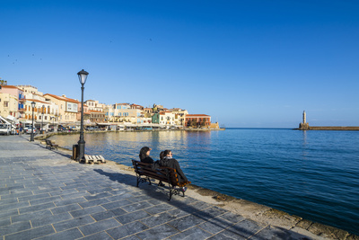 Venetian Harbour of Chania, Crete, Greek Islands, Greece, Europe Photographic Print by Michael Runkel