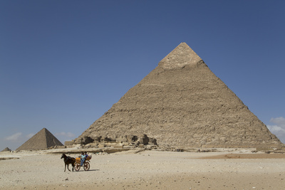 Horsecart and Pyramid of Chephren, the Giza Pyramids, Giza, Egypt, North Africa, Africa Photographic Print by Richard Maschmeyer