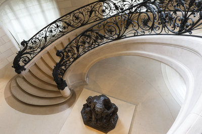 Circular Staircase with the Statue Ugolino and His Son by Jean-Baptiste Carpeaux Photographic Print by G & M Therin-Weise