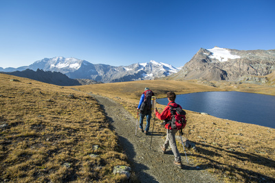 Hikers Wallking Along Rosset Lake, Gran Paradiso National Park, Alpi Graie (Graian Alps), Italy Photographic Print by Roberto Moiola
