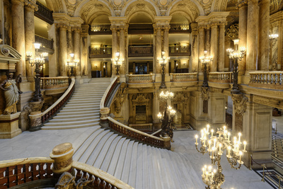 Opera Garnier, Grand Staircase, Paris, France Photographic Print by G & M Therin-Weise