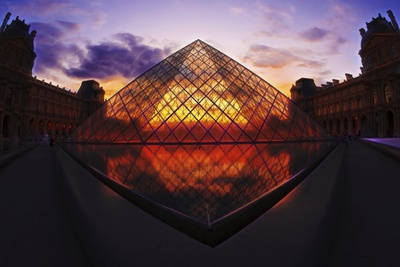 Louvre Pyramide at Sunset, Paris, France, Europe Photographic Print by G & M Therin-Weise