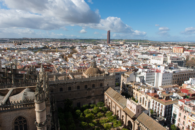 View of Seville from Giralda Bell Tower, Seville, Andalucia, Spain Photographic Print by Carlo Morucchio