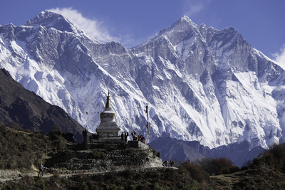 Tenzing Norgye Memorial Stupa with Mount Everest Photographic Print by John Woodworth