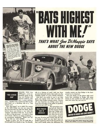 Dodge Ad With Joe Dimaggio Poster