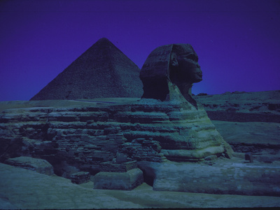 Sphinx and Great Pyramid at Giza, in Moonlight, Egypt Metal Print by James Burke