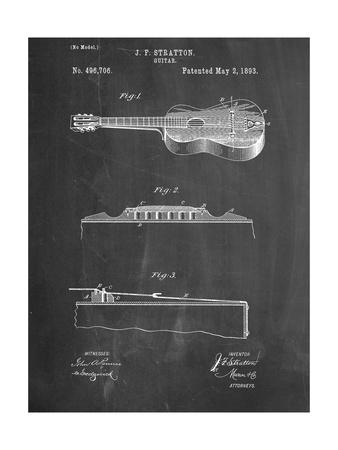 Acoustic Guitar Patent Metal Print