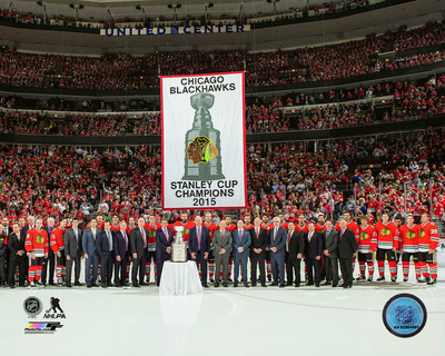 The Chicago Blackhawks raise their 2015 Stanley Cup championship banner at the United Center Octobe Photo