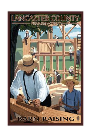 Lancaster County, Pennsylvania - Amish Barn Raising Scene Prints by  Lantern Press