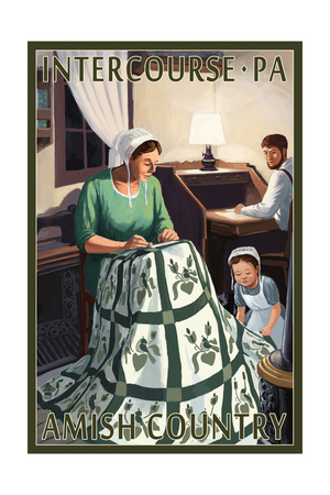 Intercourse, Pennsylvania - Amish Quilting Scene Posters by  Lantern Press