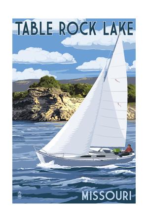 Table Rock Lake, Missouri - Sailboat and Lake Art by  Lantern Press