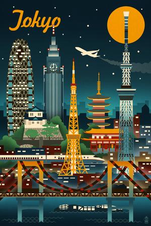 Tokyo, Japan - Retro Skyline Art by  Lantern Press