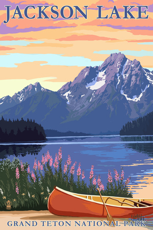 Grand Teton National Park - Jackson Lake Posters by  Lantern Press