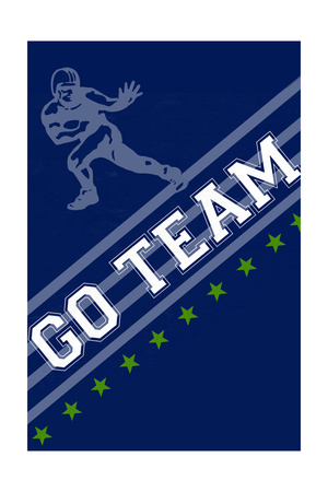 Monogram - Game Day - Blue and Green - Go Team Poster by  Lantern Press