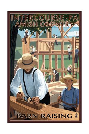 Intercourse, Pennsylvania - Amish Barn Raising Prints by  Lantern Press