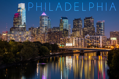 Philadelphia, Pennsylvania - Skyline at Night Poster by  Lantern Press