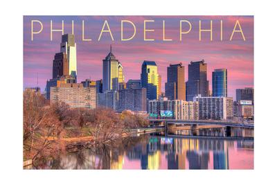 Philadelphia, Pennsylvania - Skyline and River Sunset Prints by  Lantern Press