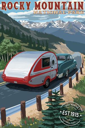 Rocky Mountain National Park - Retro Camper - Rubber Stamp Prints by  Lantern Press