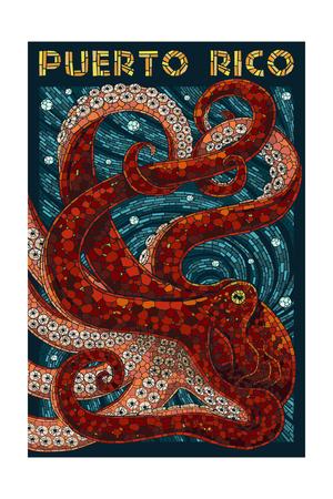 Puerto Rico - Octopus Mosaic Poster by  Lantern Press