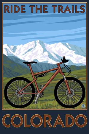 Colorado - Ride the Trails - Mountain Bike Poster by  Lantern Press