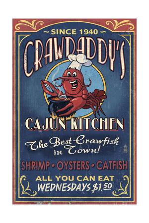 Crawfish - Vintage Sign Poster by  Lantern Press