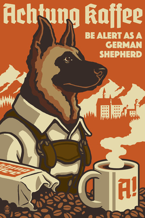 German Shepherd - Retro Coffee Ad Posters by  Lantern Press