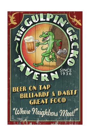 Gecko Tavern - Vintage Sign Prints by  Lantern Press