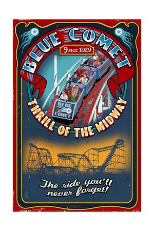 Roller Coaster - Vintage Sign Art by  Lantern Press