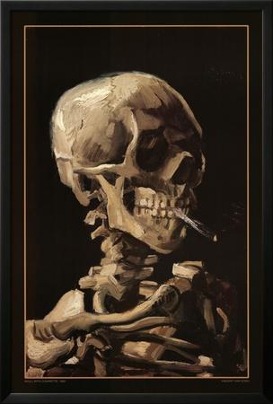Calavera con cigarrillo, 1885 Póster enmarcado con Lamina