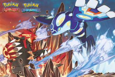 Pokemon merchandise Groudon vs Kyogre poster Ruby and Sapphire video game versions