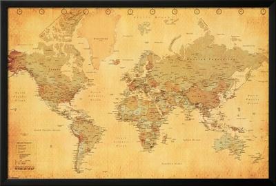 World Map - Vintage Style Photo