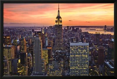 New York City (Empire State Building, Sunset) Art Poster Print Prints