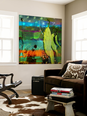Cactus and Flag Collage Wall Mural by Sisa Jasper