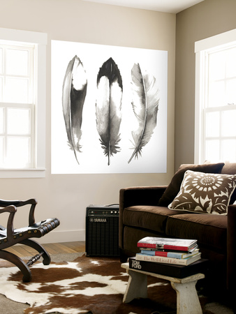 Watercolor Feathers II Wall Mural by Grace Popp