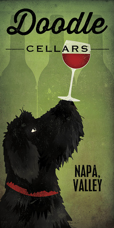 Doodle Wine II Black Dog Poster by Ryan Fowler