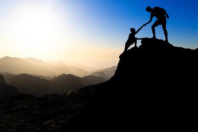 Teamwork Couple Hiking Helping Hand Photographic Print by  blas